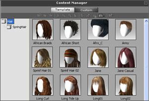 新しく搭載されたスプリングを利用した髪テンプレートを使えば、美しい髪のダイナミクスが作成できます。